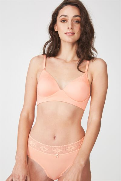 Supersoft Lounging Longline Bralette, PEACHY