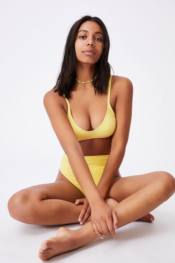 U Crop Bralette Bikini Top Terry, LEMON TERRY