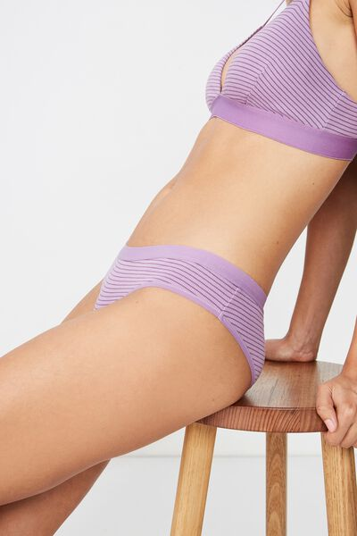 Cotton Rib Cheeky Bikini Brief, PURPLE DOVE STRIPE