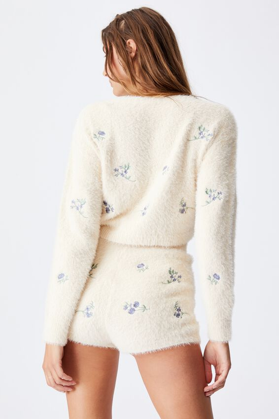 Fluffy Cropped Knit Pull Over, SPACED OUT DITSY BUTTERMILK