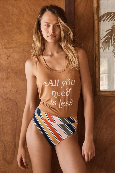 Renewed Banded Highwaisted Cheeky Bikini Bottom, MULTISTRIPE
