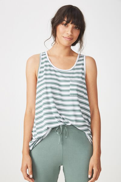 Sleep Recovery Pocket Tank, FERN STRIPE