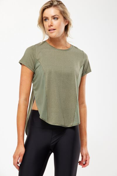 Spliced Mesh T Shirt, OLIVE GREEN MARLE