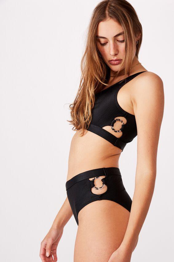 Side Ring Crop Bikini Top, BLACK RIB