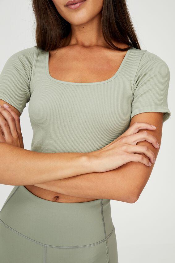 Square Neck Seamless Tshirt, GREEN HAZE