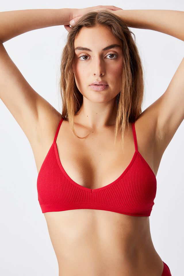 Seamless Triangle Padded Bralette, TRUE RED