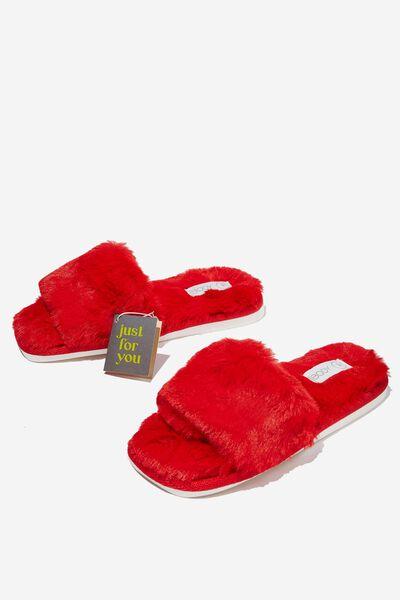 Square Toe Slide Slipper, POPPY RED
