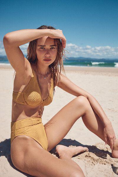 Highwaisted Cheeky Bikini Bottom Texture, FALL ORANGE TEXTURE