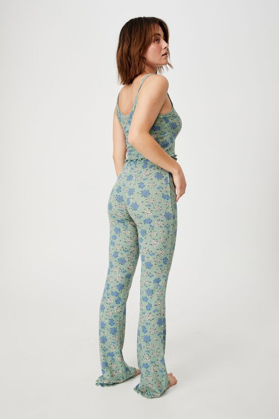 Bed Time Waffle Pant, FLORAL BUNCH DITZY SMOKE GREEN