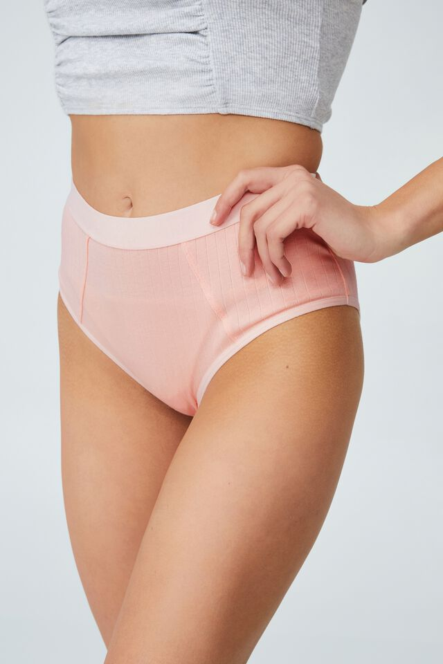 Organic Cotton Mumdie Bikini Brief, MARSHMALLOW PINK RIB