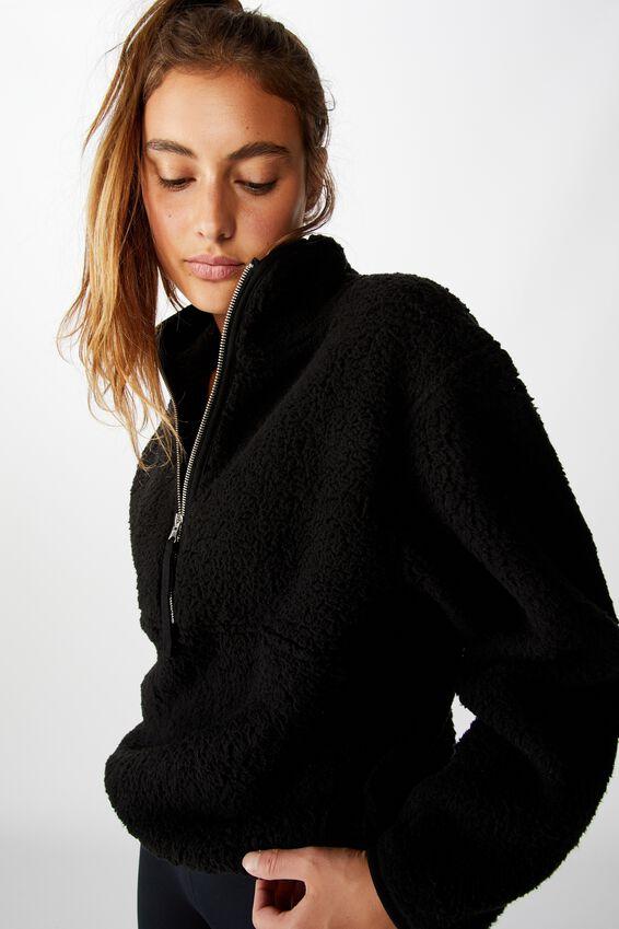 Sherpa Zip Fleece Top, BLACK