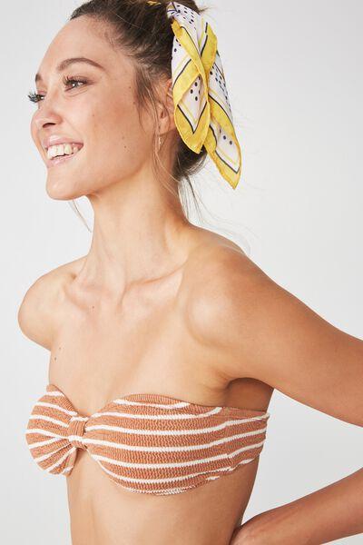 Billie Crinkle Knotted Bandeau Bikini Top, MAPLE STRIPE