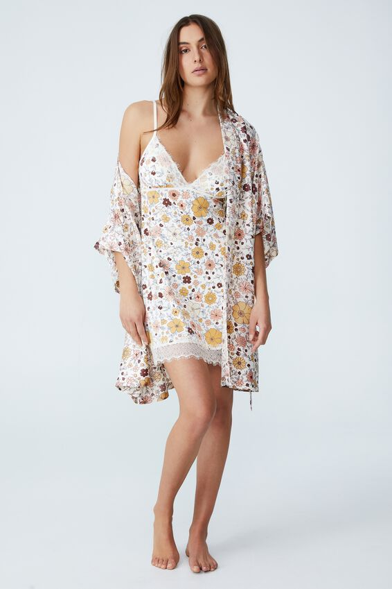 Satin Robe, CLASSIC 70 S FLORAL