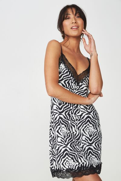 Lace Slinky Nightie, ZEBRA