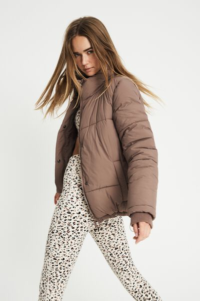 The Recycled Mother Puffer Jacket, RAW UMBER