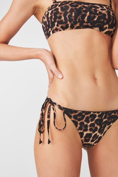 Tie Side Seamless Cheeky Bikini Bottom, LEOPARD