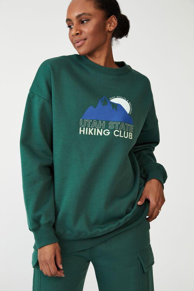 Lifestyle Oversized Graphic Crew, VERDANT GREEN/UTAH STATE HIKING