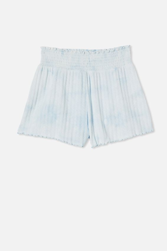Knit Pointelle Bed Short, TIE DYE SOFT BLUE