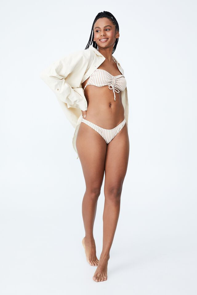 Gathered Backless Halter Bikini Top, MINT CHIP MULTI LUREX STRIPE