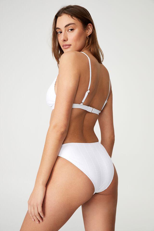 High Apex Fixed Triangle Bikini Top Pointelle, WHITE POINTELLE