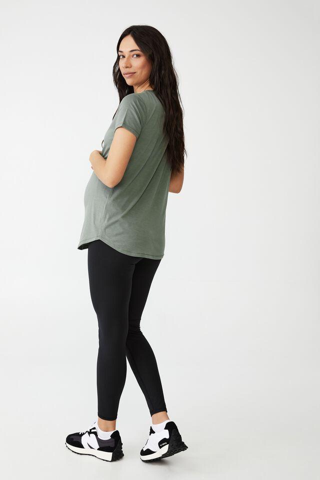 Maternity Gym T Shirt, GREEN HAZE