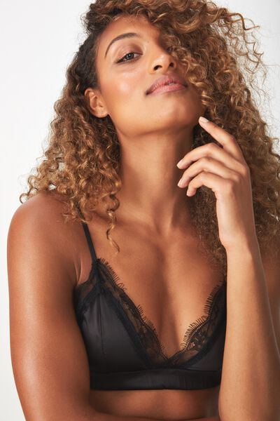Love Story Satin & Lace Bralette, BLACK