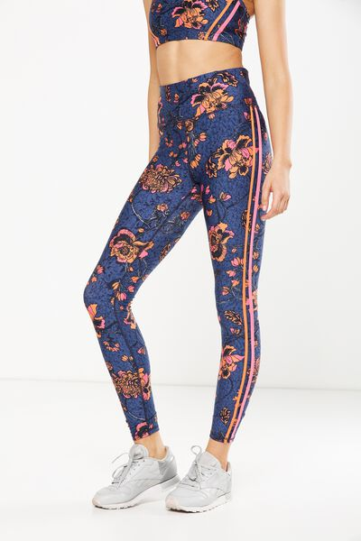 Fleece Lined Tight, IMPERIAL FLORAL INDIGO