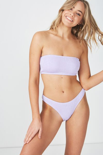 Hanna Crinkle High Side Cut Cheeky Bikini Bottom, LILAC