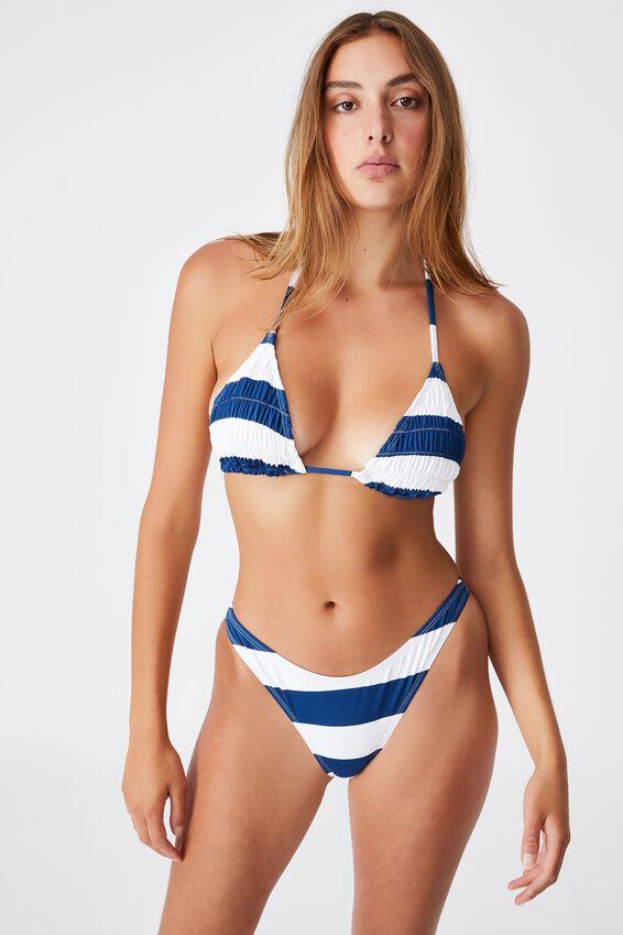 Slider Triangle Bikini Top Gathers, MARINA BLUE STRIPE GATHERS