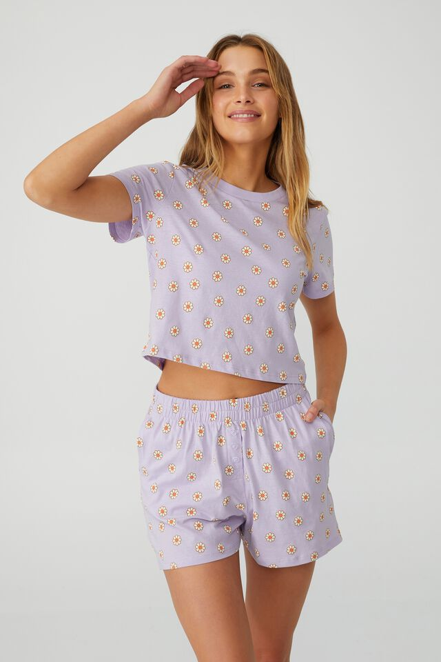 Jersey Button Boxer Short, LITTLE DAISY/LILAC DREAM