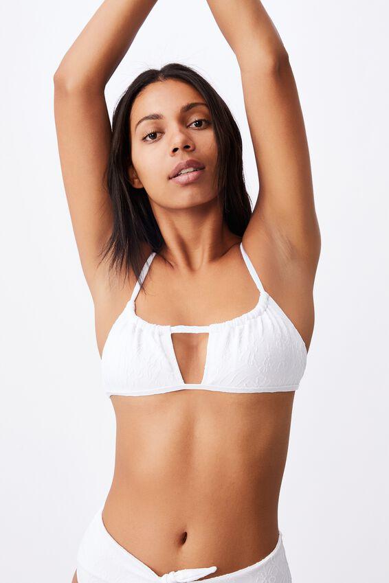 Gathered Bralette Bikini Top Jacquard, WHITE JACQUARD