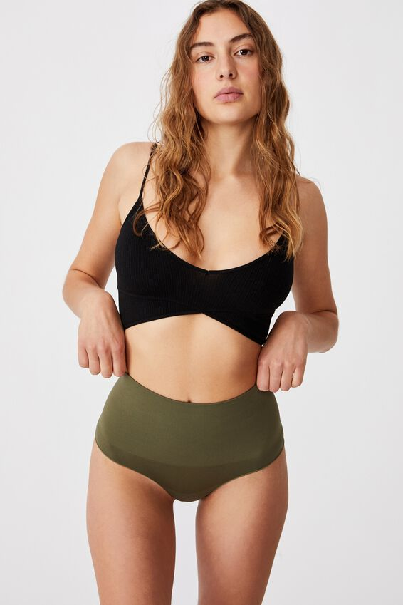 Take Control High Waist G String, DRIED HERB