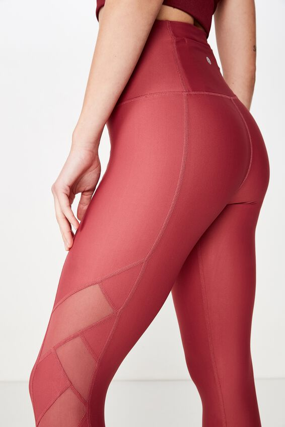 Cross Over Mesh 7/8 Tight, ROSE SANGRIA