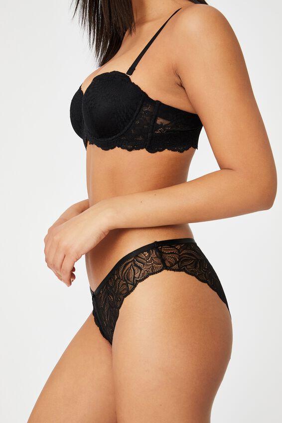 Summer Lace Bikini Brief, BLACK