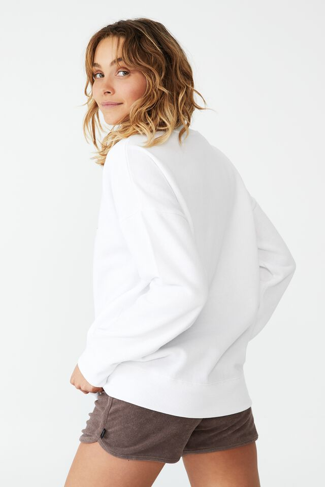 Lifestyle Long Sleeve Graphic Crew Top, WHITE/ BODY HEALTH & WELLNESS