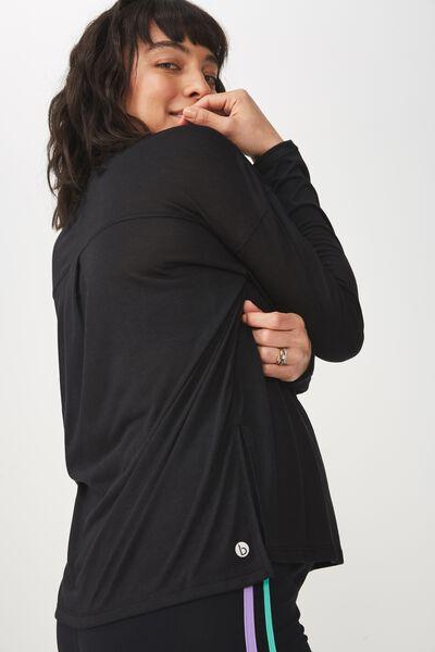 Maternity Long Sleeve Split Hem Top, BLACK