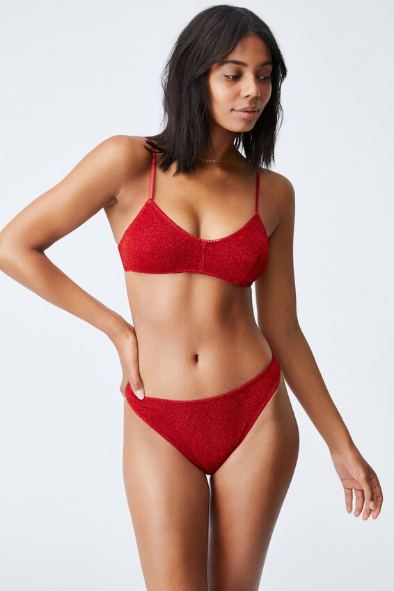Sparkle Stretch Mesh High Side Brasiliano, RED SPARKLE