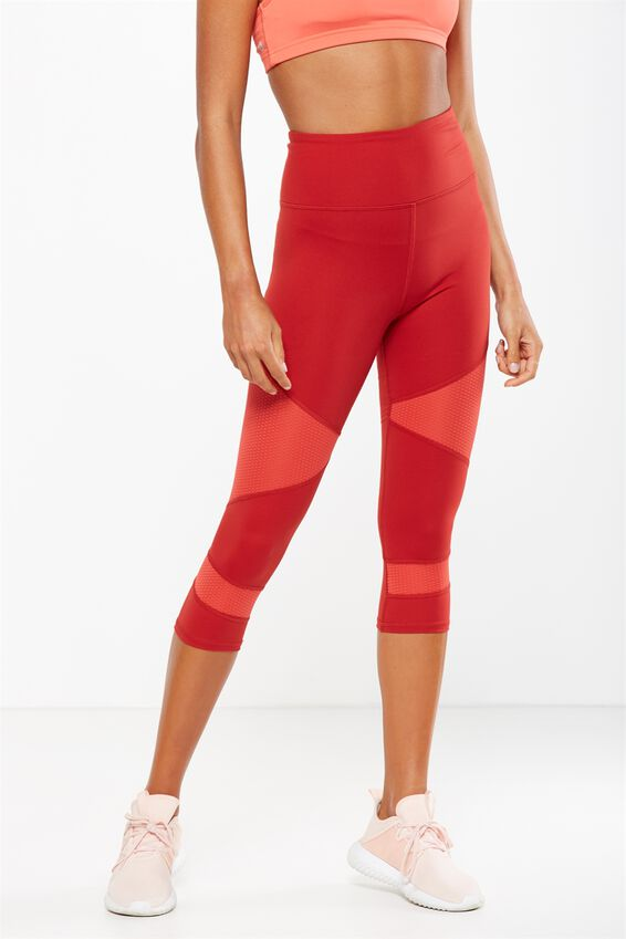 Panelled And Spliced Cropped Tight, SMOKEY BRICK/POPPY RED