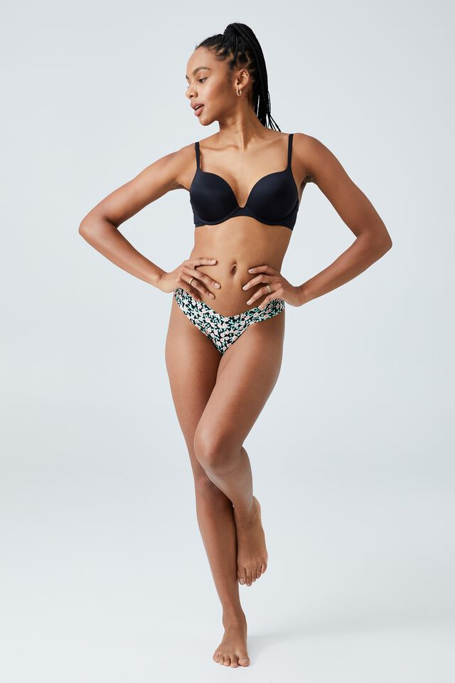 The Invisible G String Brief, FLOWER LEAF DITSY BLACK