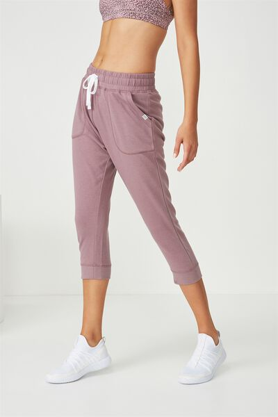Cropped Gym Track Pants, THISTLE MAUVE