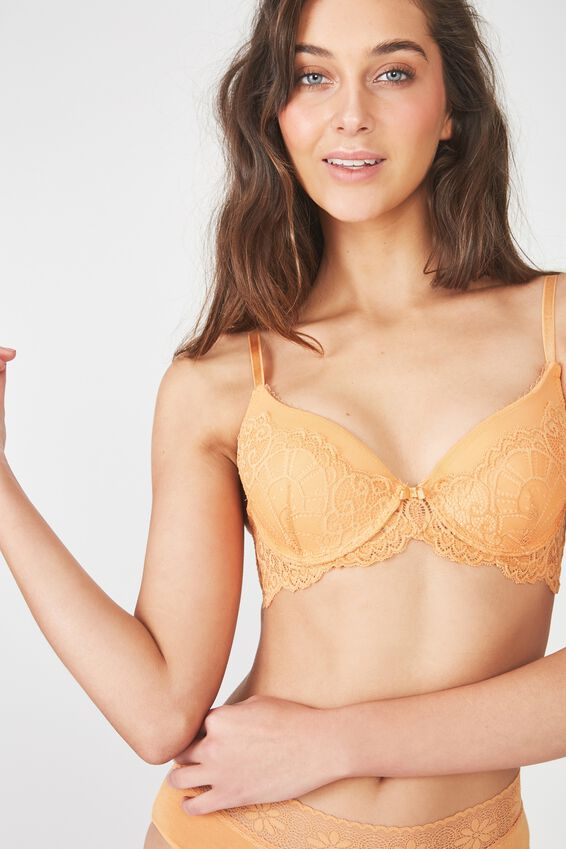 Candice Lace And Mesh Booster With Rem Up 2 Bra, BUTTERSCOTCH