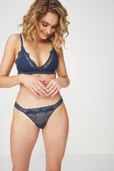 Candice Lace G-String Brief, DARK STORM BLUE