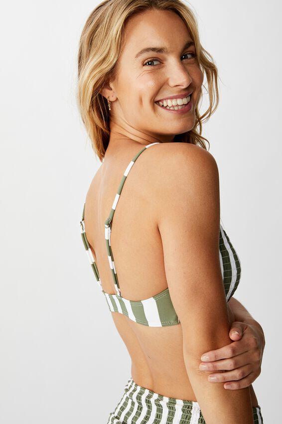 Scoop Crop Bralette Bikini Top, COOL AVOCADO STRIPE SHIRRED