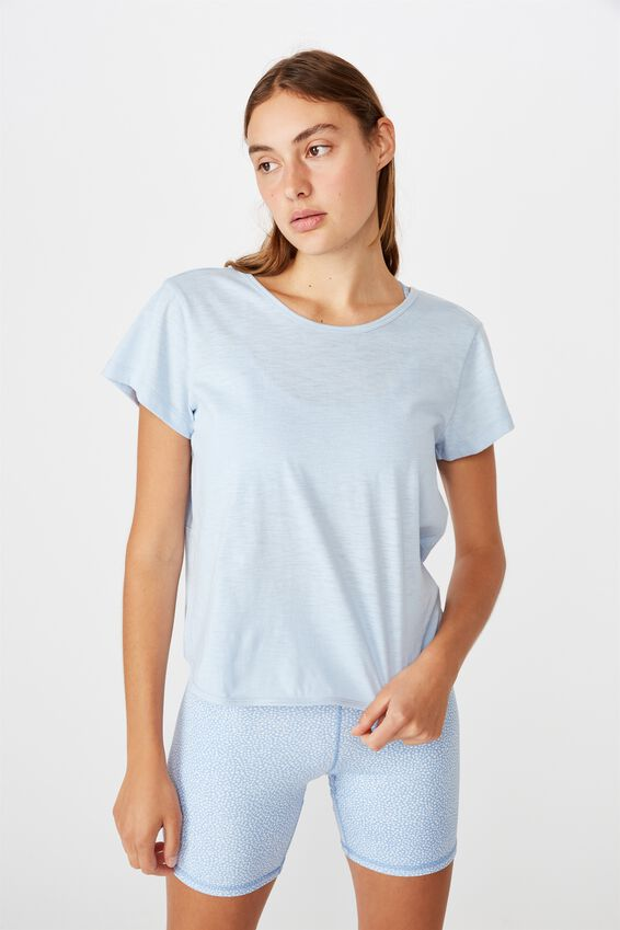 Lifestyle Twist Back Tshirt, SKYE BLUE