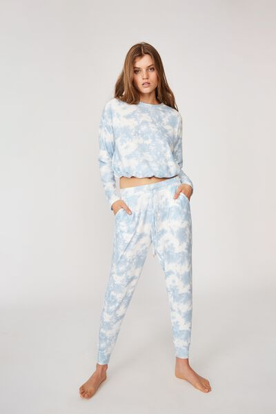 Supersoft Slim Fit Pant, BABY BLUE OMBRE MARLE