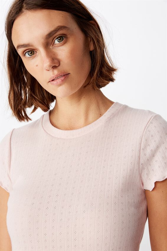 Pointelle Bed T Shirt, CRYSTAL PINK