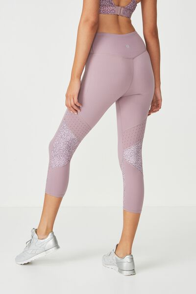 Tempo Mesh Panelled Crop Tight, SPRAY SPOT THISTLE