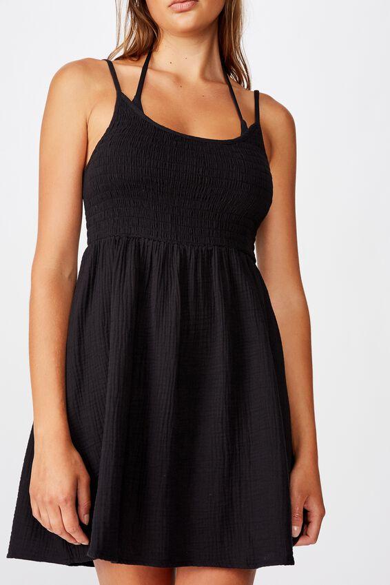 Shirred Beach Dress, BLACK