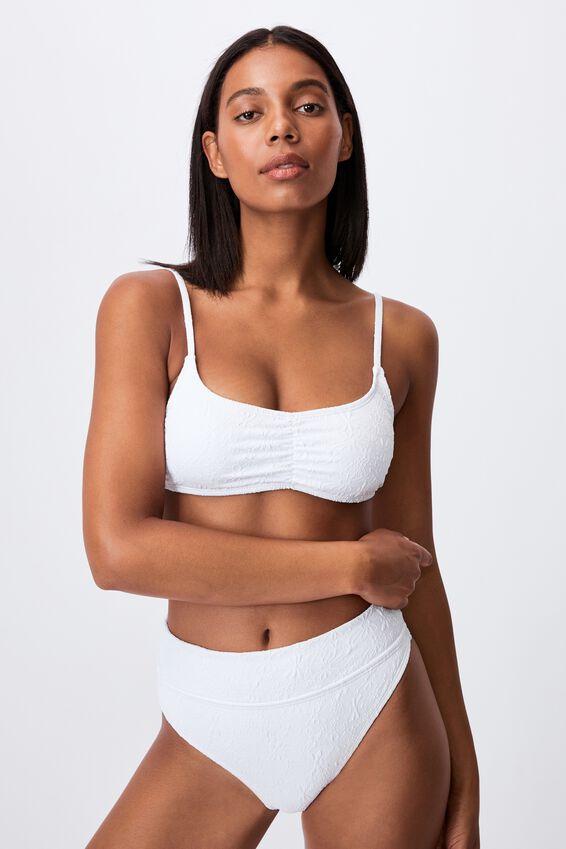Gathered Front Backless Bikini Top Jacquard, WHITE PETALS JACQUARD