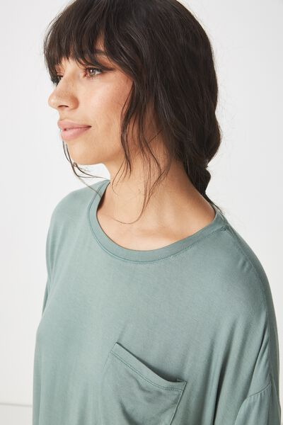 Sleep Recovery Boxy Tshirt, FERN GREEN